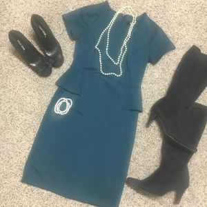 Teal Peplum Dress